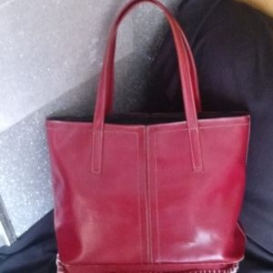 Vintage Kate Spade red leather tote